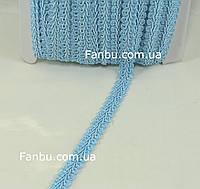 """Ажурная тесьма """"шанель атласная"""" голубая ,ширина 1.2см, фото 1"""