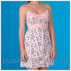 Женская ночная сорочка с принтом, роза+персик