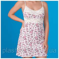 Женская ночная сорочка с кружевом, роза+шампань