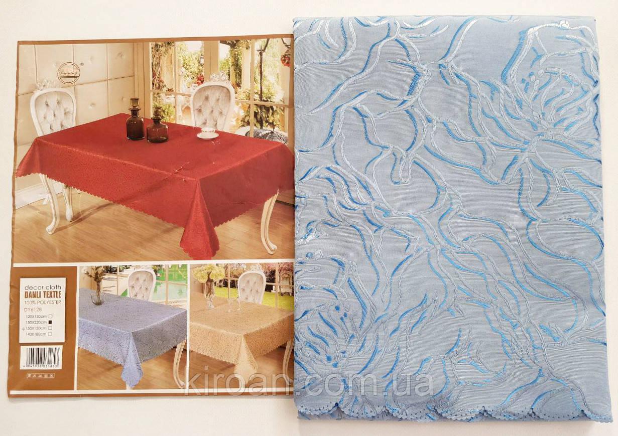 """Скатерть на стол """"Роза"""" голубая 145x205см"""