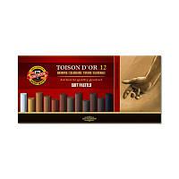Мел пастель Toison D'or Koh-i-noor 12 шт коричневые оттенки 8522