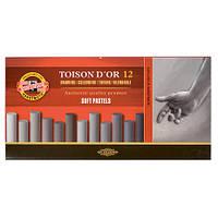 Мел пастель Toison D'or Koh-i-noor 12 шт серые оттенки 8522
