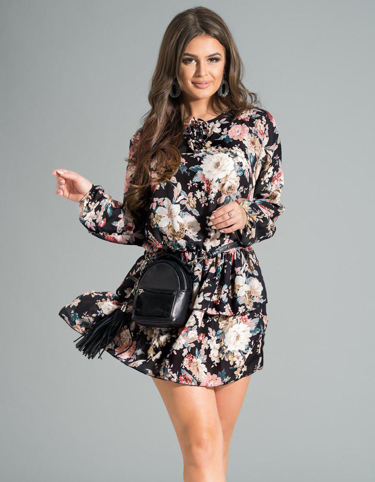 458aba9d9c1525d Молодежное шифоновое платье черного цвета с цветочным рисунком. Модель 17632