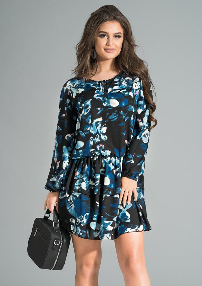64931a2a449cc4d Короткое шифоновое платье черного цвета с цветочным рисунком. Модель 17636