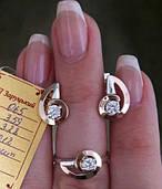 Серебряные серьги с золотыми накладками 065