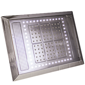 Лейка для душевой кабины прямоугольная, хромированная 325х245 мм. c подсветкой, динамиком и кулером ( Л-325 ЛДК )  , фото 2