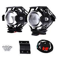 Фары прожекторы для мотоцикла CREE U5 LED 12В 3000лм + кнопка, черные