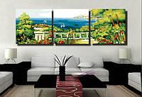 Картина по номерам MENGLEI Триптих. Средиземноморский пейзаж (MT3037) Триптих 50 х 150 см, фото 1