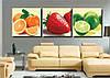 Картина по номерам MENGLEI Триптих. Красочные фрукты (MT3029) Триптих 50 х 150 см