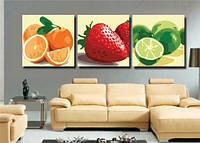 Картина по номерам MENGLEI Триптих. Красочные фрукты (MT3029) Триптих 50 х 150 см, фото 1