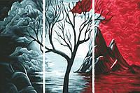 Картина по номерам Триптих. Красное и черное (N001) Триптих 80 х 150 см, фото 1