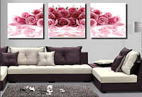 Раскраска по номерам MENGLEI Триптих. Розовые розы (MT3025) Триптих 50 х 150 см, фото 1