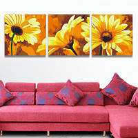Раскраска по номерам MENGLEI Триптих. Желтые герберы (MT3028) Триптих 50 х 150 см, фото 1