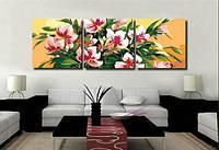 Картина по номерам MENGLEI Триптих. Розовые лилии (MT3032) Триптих 50 х 150 см, фото 1