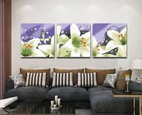 Картина по номерам MENGLEI Триптих. Белые лилии (MT3051) Триптих 50 х 150 см, фото 1