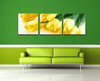 Картина по номерам MENGLEI Триптих. Желтые тюльпаны (MT3053) Триптих 50 х 150 см, фото 1