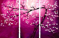 Раскраска по номерам Триптих. Цветение сливы (N002) Триптих 80 х 150 см, фото 1