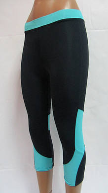 Женские черные спортивные капри с цветными вставками