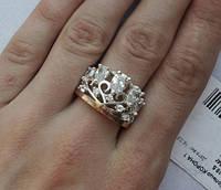 """Шикарное кольцо """"Корона 1"""" с золотыми накладками"""