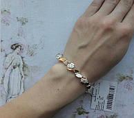 Браслет серебряный с пластинами(вставками,накладками,напайками) золота Багира 18 см