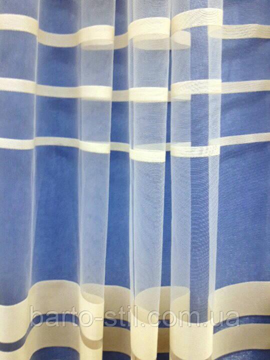 Тюль из фатина бежевого цвета с горизонтальными полосками Турция Высота 3 м