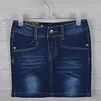 """Юбка джинсовая детская """"Jeans"""" #АА5002. 4-5-6-7-8 лет. Темно-синяя. Оптом"""