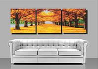 Рисование по номерам MENGLEI Триптих. Осенняя аллея (MT3040) Триптих 50 х 150 см, фото 1