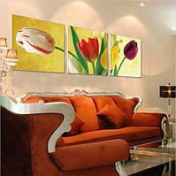 Картина по номерам MENGLEI Триптих. Разноцветные тюльпаны (MT3075) Триптих 50 х 150 см, фото 1