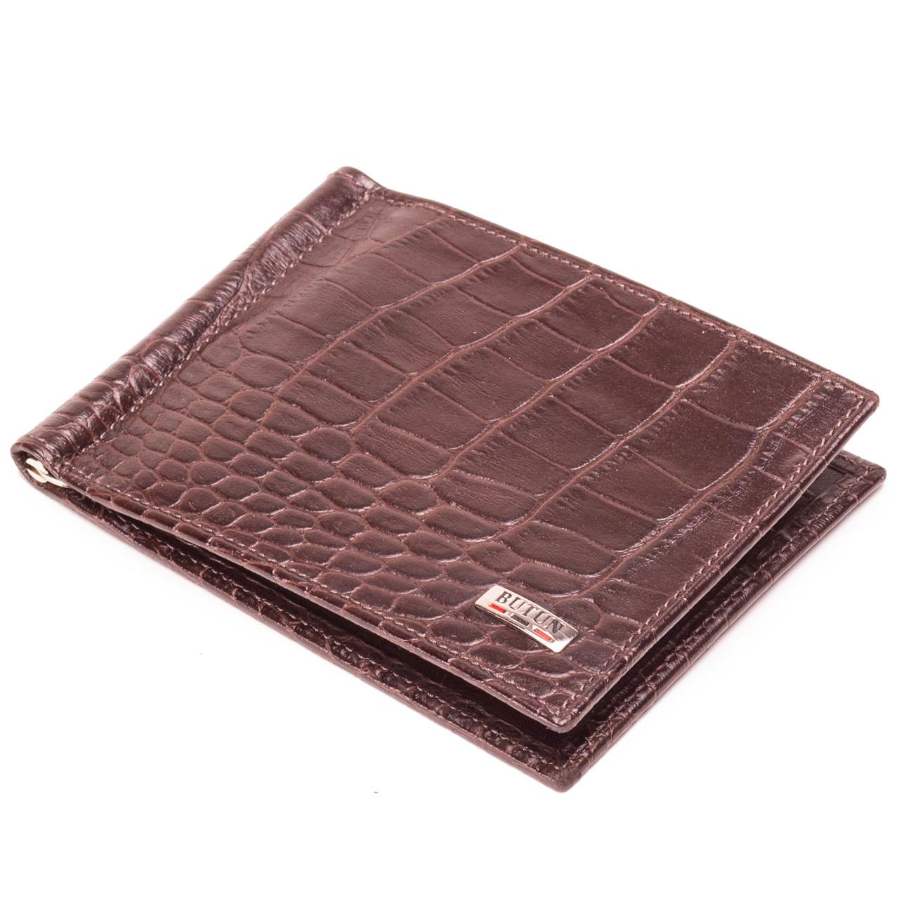 Зажим для денег кожаный коричневый Butun 250-002-004