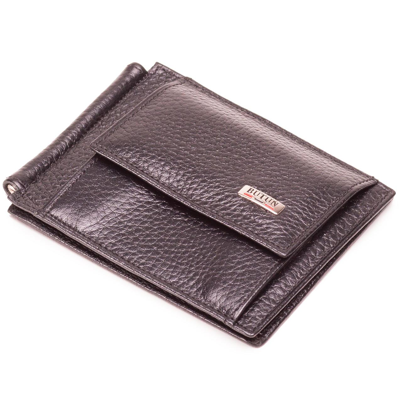 Зажим для денег кожаный черный Butun 247-004-001