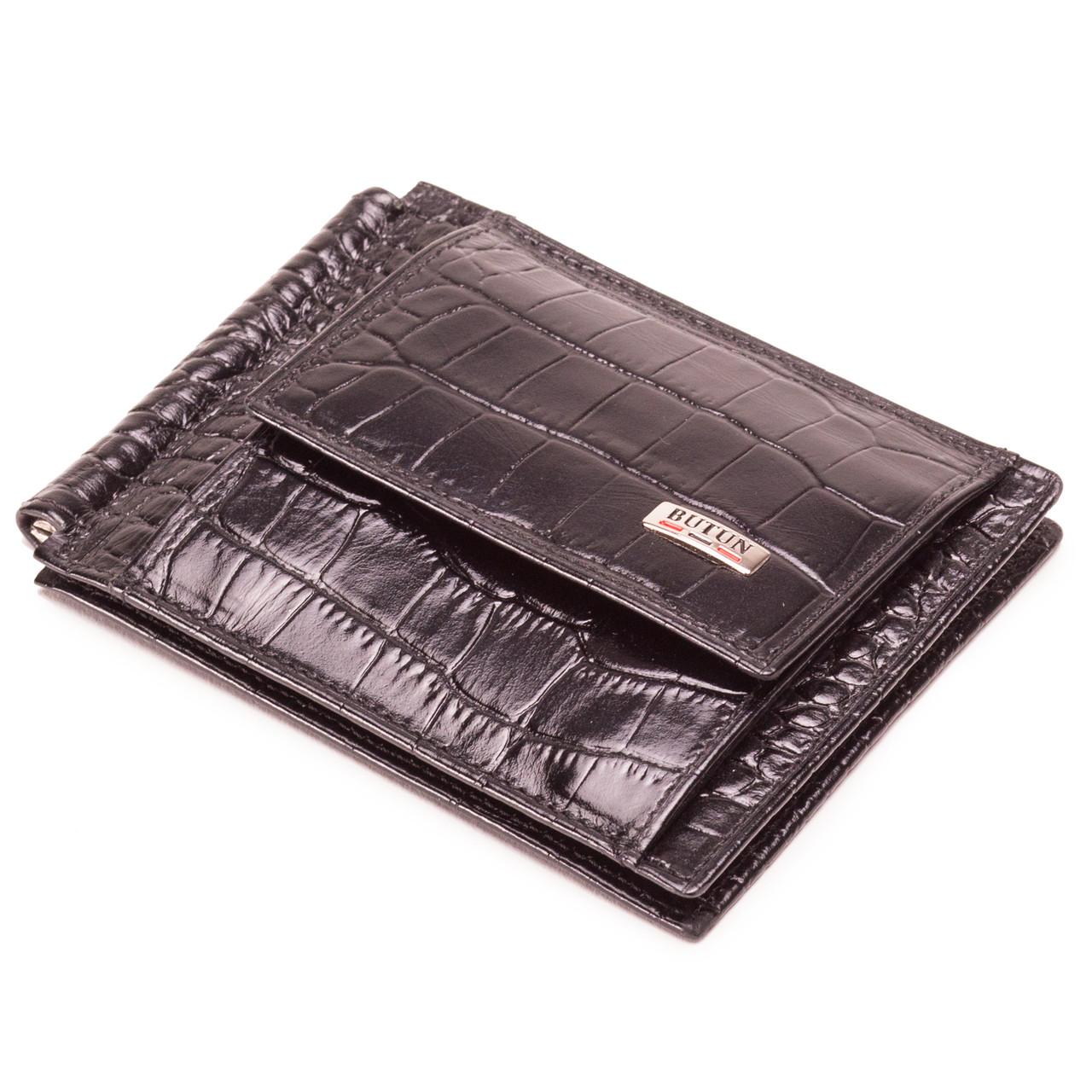 Зажим для денег кожаный черный Butun 247-002-001
