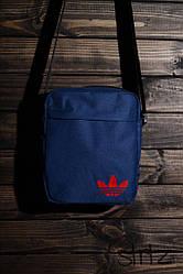Сумка мессенджер Adidas синего цвета  (люкс копия)