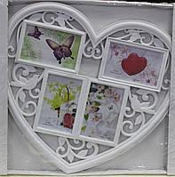Фото-коллаж, белый, Сердце, 4 фото