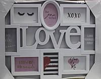 Фото-коллаж Любовь, 8 фото, 62 см х 47см, цвет белый