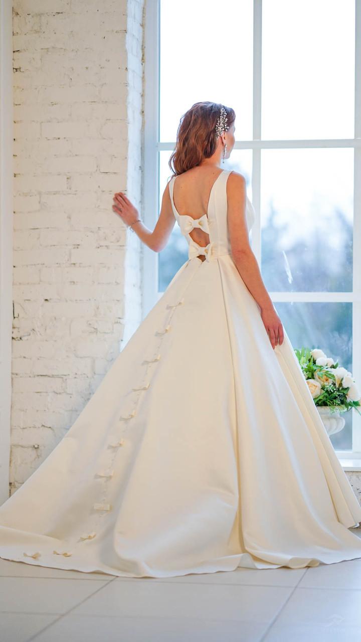 862b0a6a2bd Длинное атласное свадебное платье айвори цвета - Магазин