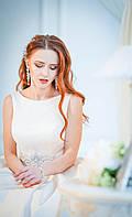 Длинное атласное свадебное платье айвори цвета