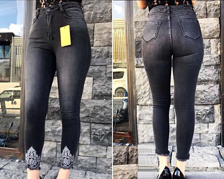 """Женские стильные джинсы рванка с вышивкой до больших размеров """"44-792"""""""