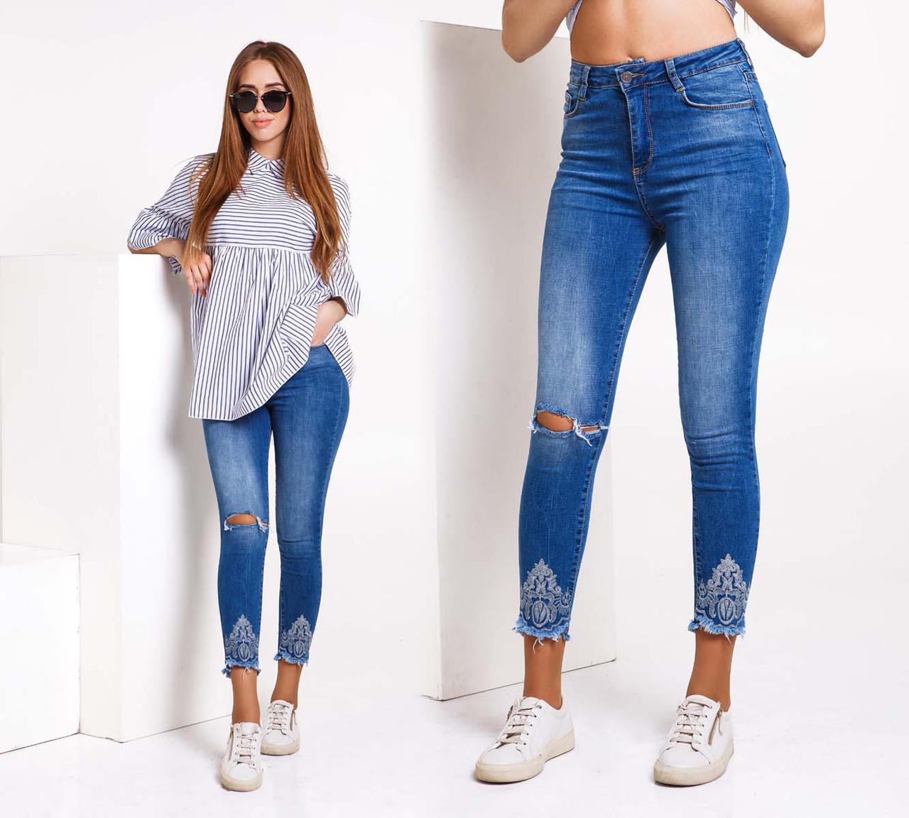 """Женские стильные джинсы рванка с вышивкой  """"791"""""""