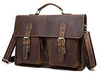 Bexhill (England) Мужской кожаный портфель из натуральной винтажной кожи в коричневом цвете BEXHILL BX1061C