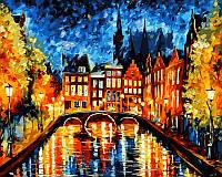 Картина-раскраска DIY Babylon Ночь в Амстердаме худ Афремов, Леонид (VP071) 40 х 50 см
