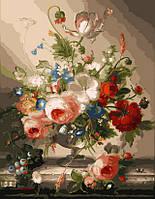 Картина по номерам на холсте Цветочный натюрморт с виноградом худ. Швамбергер, Хильдегард (VP118) 40 х 50 см