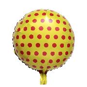 Фольгированные воздушные шары, форма:круг горох полька на желтом, 18 дюймов/45 см, 1 штука