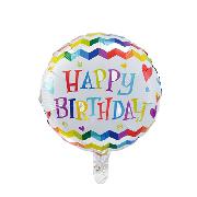 Фольговані кульки, форма:коло з Днем народження, 18 дюймів/45 см, 1 штука