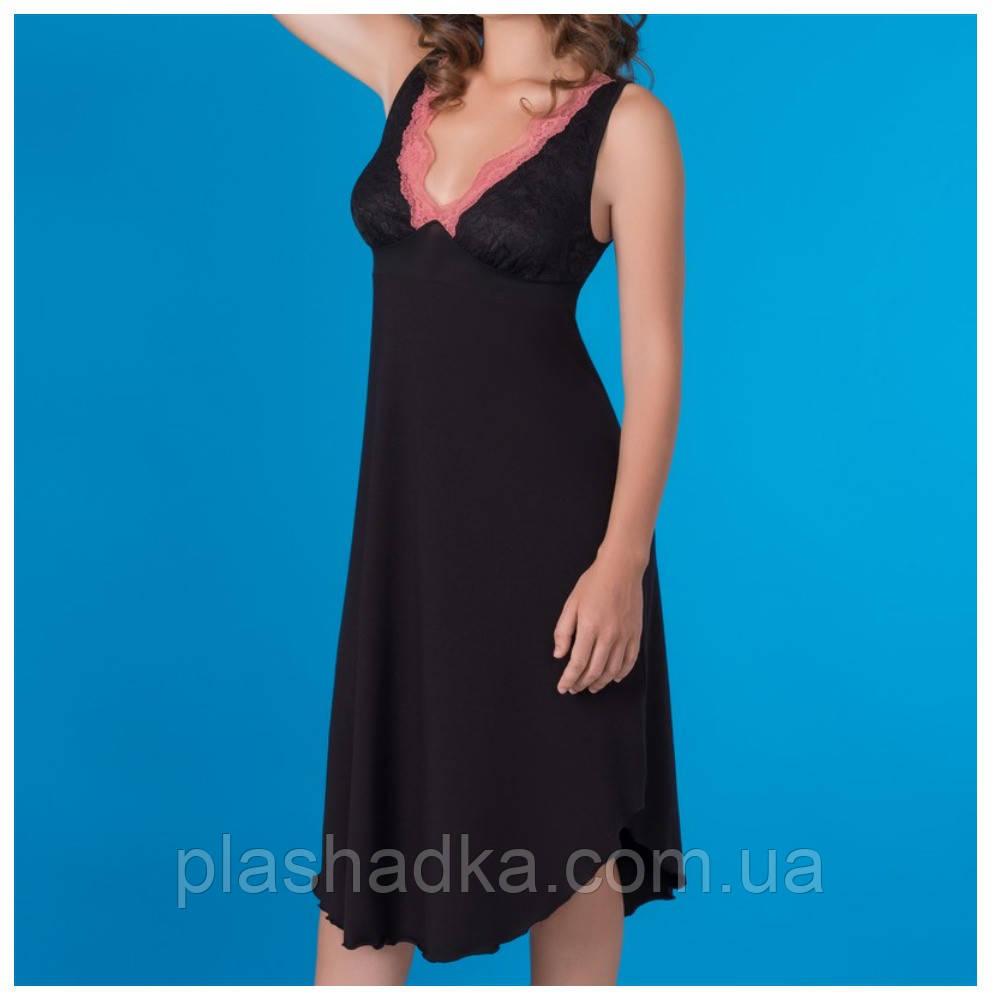 Ночная сорочка женская, цвет черно-клементиновый