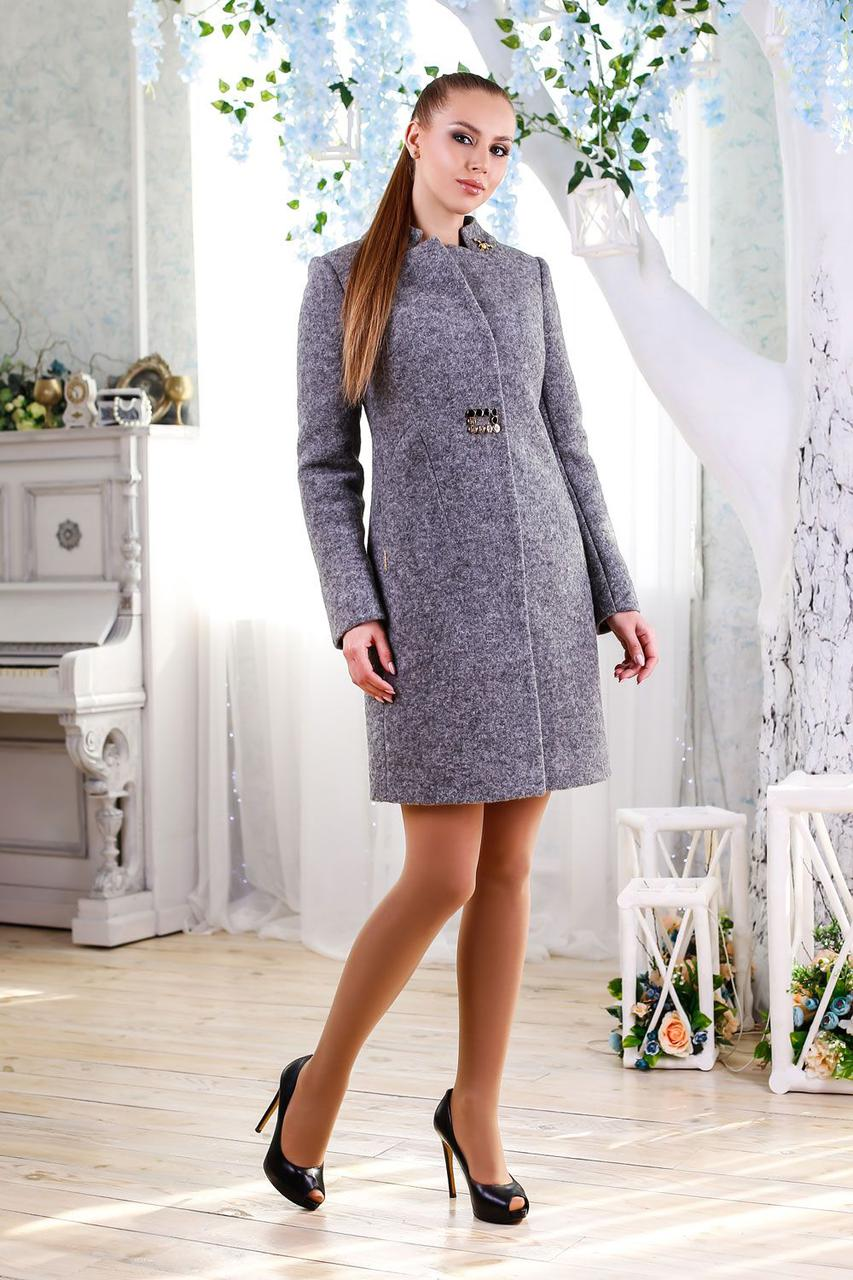 Шерстяное демисезонное женское пальто 1112 (44–54р)в расцветках
