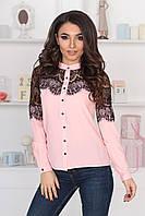 """Шелковая женская блуза """"Leila"""" с кружевом и длинным рукавом (4 цвета)"""