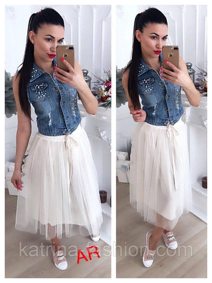 Женская модная фатиновая юбка-миди