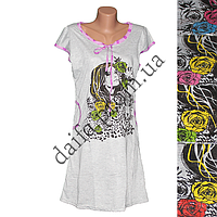 Женская котоновая ночная рубашка TL48 (р-ры 46-52) оптом со склада в Одессе.