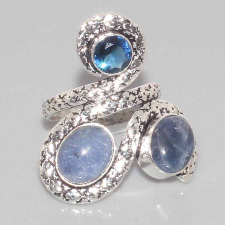 Оригинальное кольцо с сапфиром в серебре. Кольцо с мультикамнями 16,5 размер Индия!