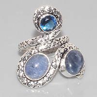 Оригинальное кольцо с сапфиром в серебре. Кольцо с мультикамнями 16,5 размер Индия!, фото 1